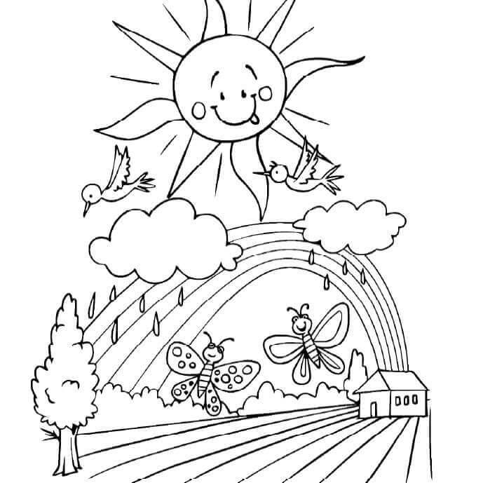 gambar mewarnai pemandangan matahari pelangi awan pohon