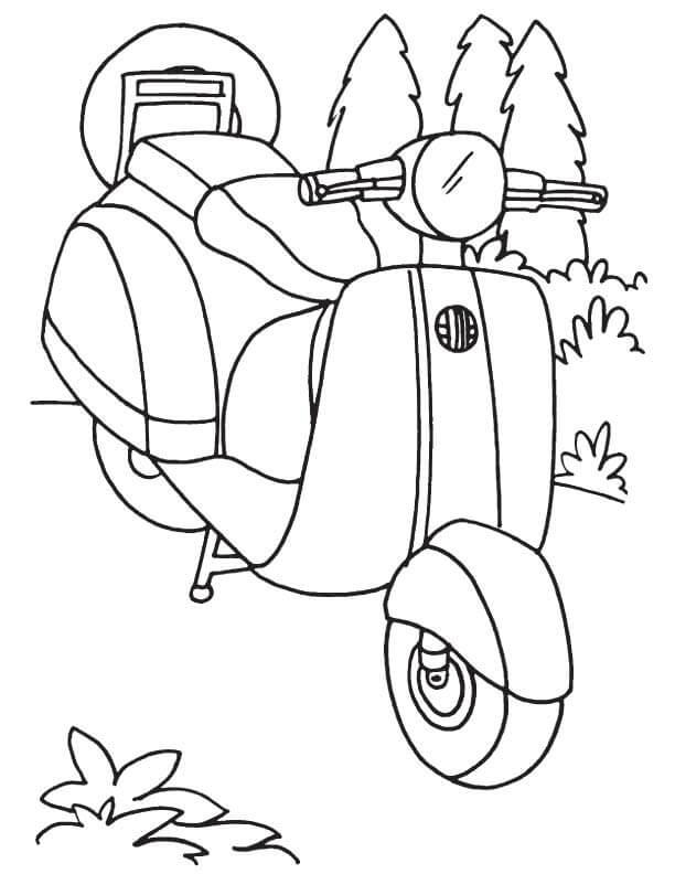 gambar mewarnai motor vespa